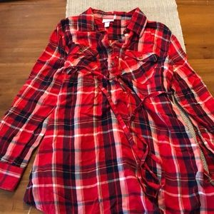 Isabel maternity large red plaid shirt